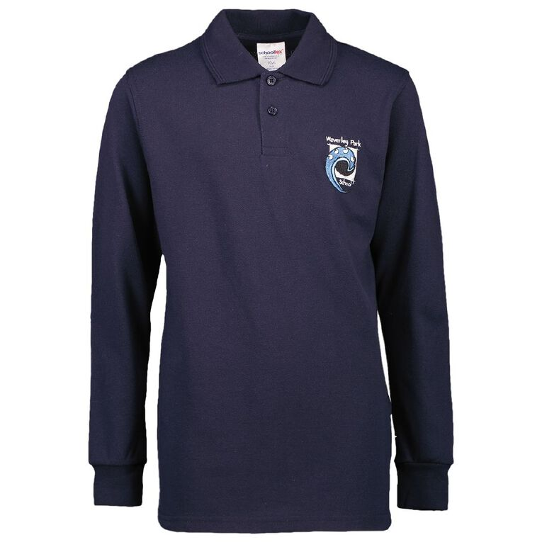 Schooltex Waverley Park Long Sleeve Polo with Embroidery, Navy, hi-res