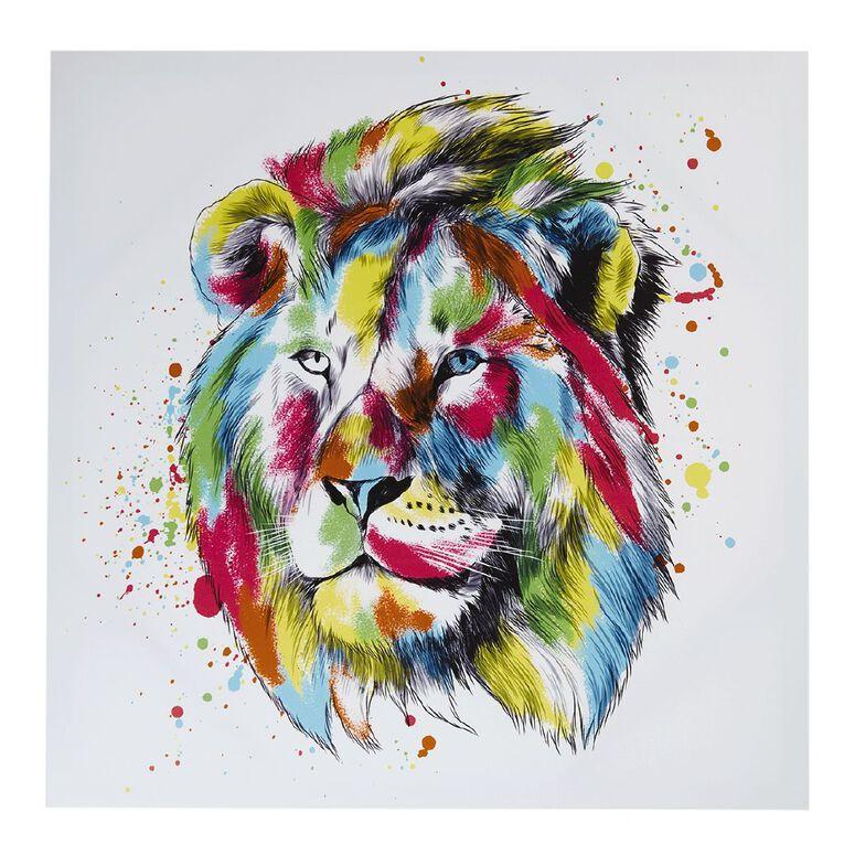 Living & Co Lion Brights Canvas 80 x 80 x 1.8cm, , hi-res