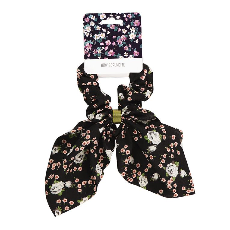 Bow Scrunchie With Gold Embellishment Black, , hi-res