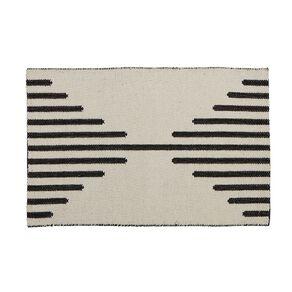 Living & Co Diamond Border Cotton Scatter Rug White/Black 60cm x 90cm