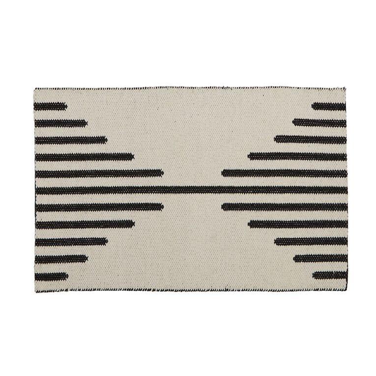 Living & Co Diamond Border Cotton Scatter Rug White/Black 60cm x 90cm, White/Black, hi-res