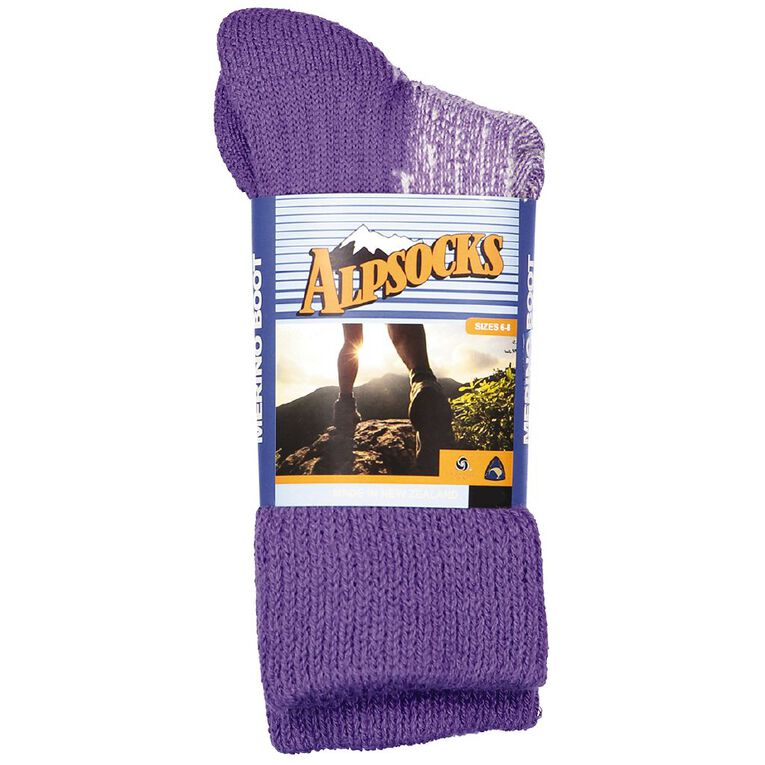 Alpsocks Women's Merino Boot Socks 1 Pack, Purple, hi-res