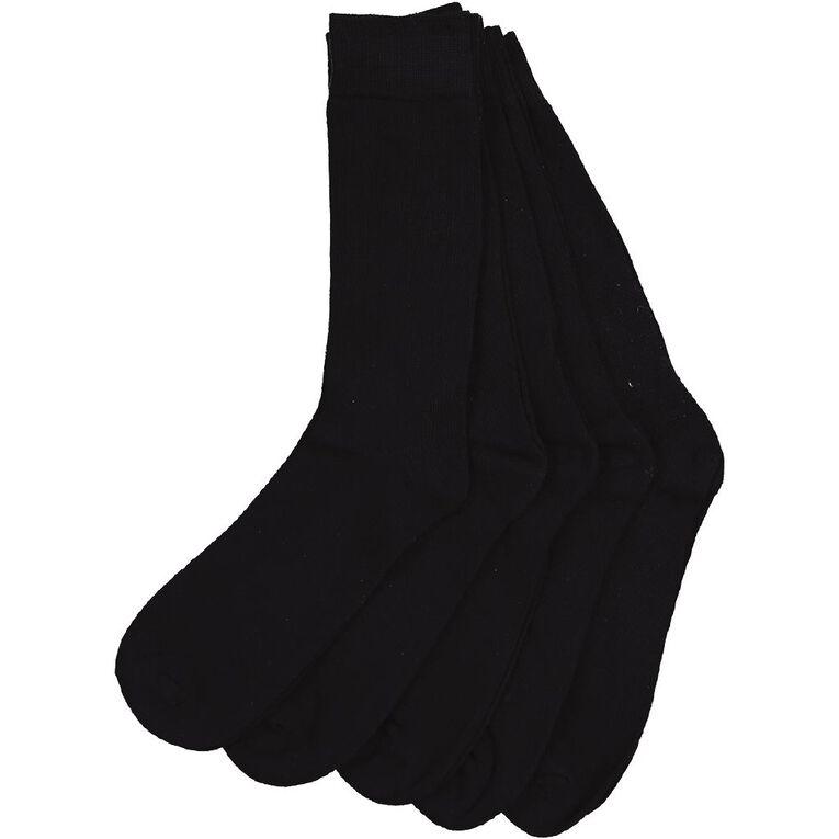 H&H Men's Crew Socks 5 Pack, Navy, hi-res