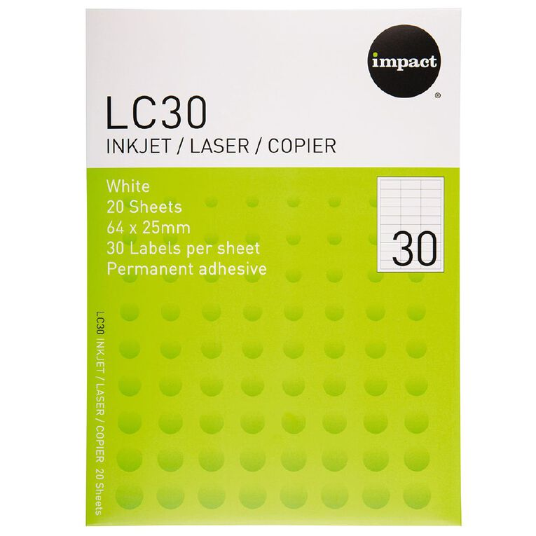 Impact Labels 20 Sheets A4/30 White, , hi-res
