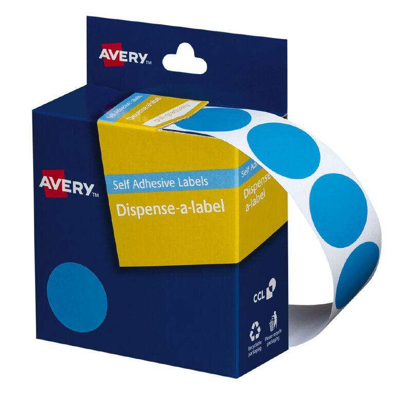 Avery Light Circle Blue Dispenser Labels 24mm diameter 500 Labels, , hi-res