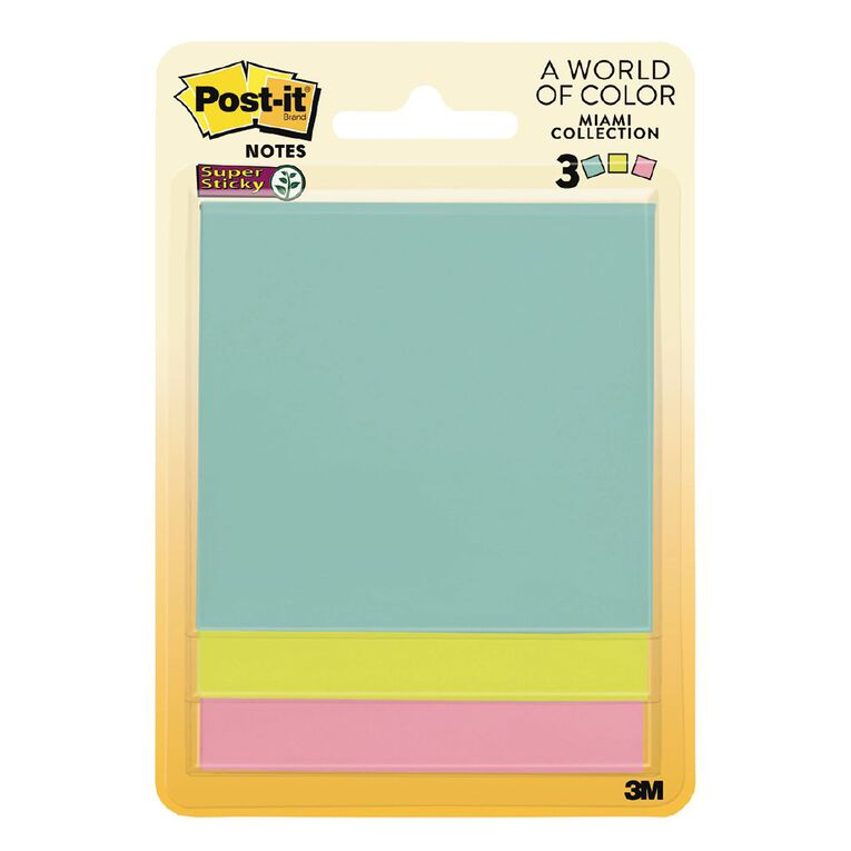 Post-It Super Sticky Notes 76mm Miami Collection 3 Pack, , hi-res