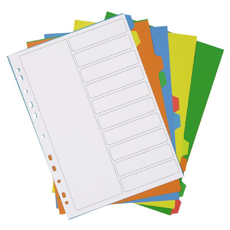 WS PP Dividers 10 Tab Multi-Coloured, , hi-res
