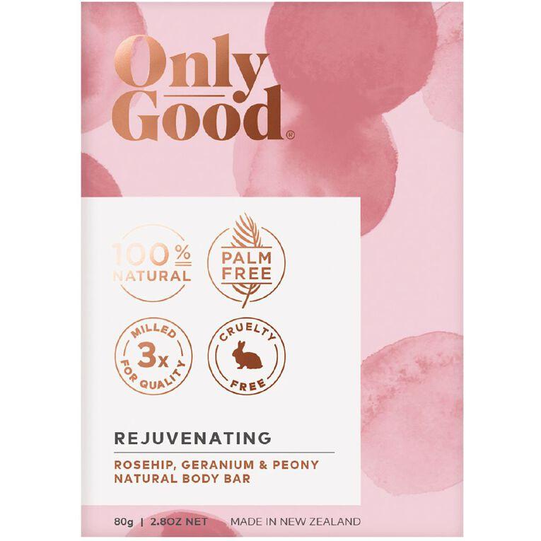 Only Good Body Bar Soap Rejuvenating Rosehip Geranium and Peony 80g, , hi-res