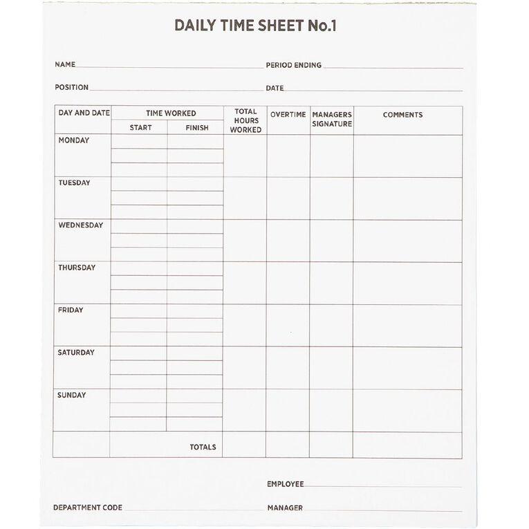 WS Time Sheets 50 Sheets 200x240mm, , hi-res