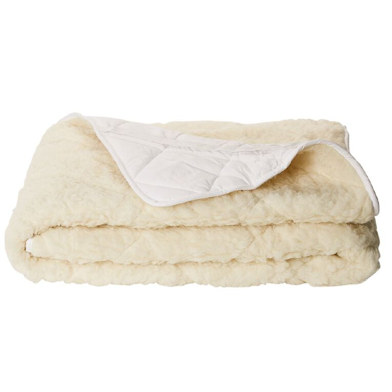 Living & Co Underlay Wool Reversible 500gsm White Queen, White, hi-res