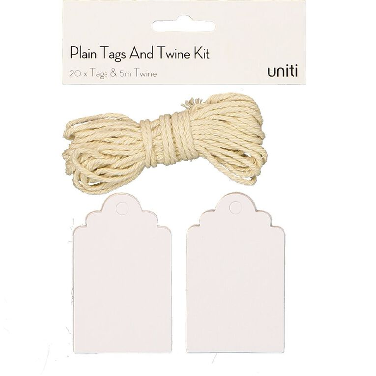Uniti Tags And Twine Kit White, , hi-res