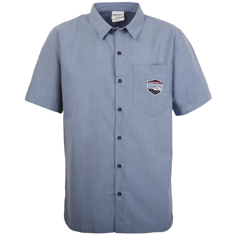 Schooltex Darfield High Boys' Short Sleeve Shirt with Embroidery, Chambray, hi-res