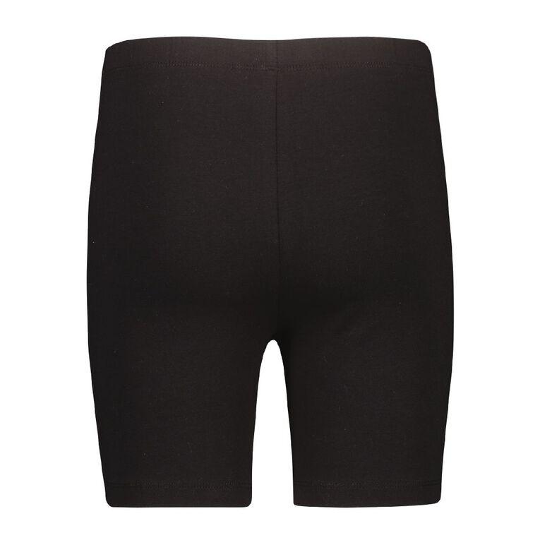 Young Original Girls' Plain Bike Shorts 2 Pack, Black, hi-res