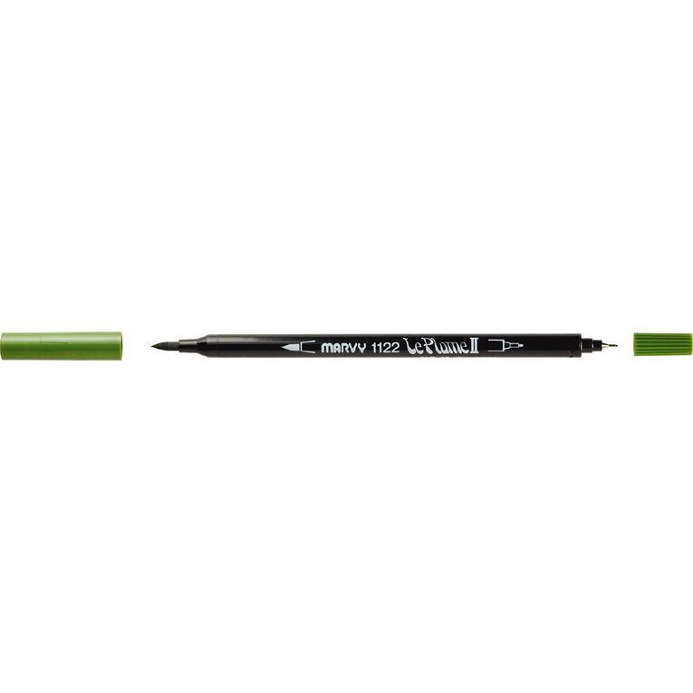 MARVY Le Plume II Dual Tip Marker Olive Green, , hi-res