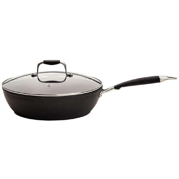 Living & Co Urban Deep Dish Pan Black 28cm, , hi-res