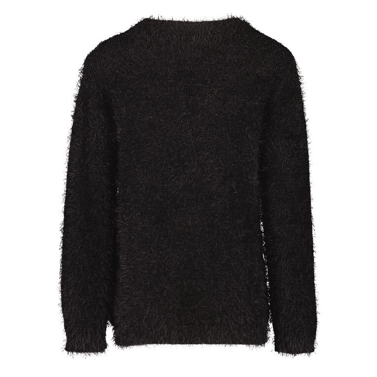 Young Original Girls' Feather Knit Jumper, Black, hi-res image number null