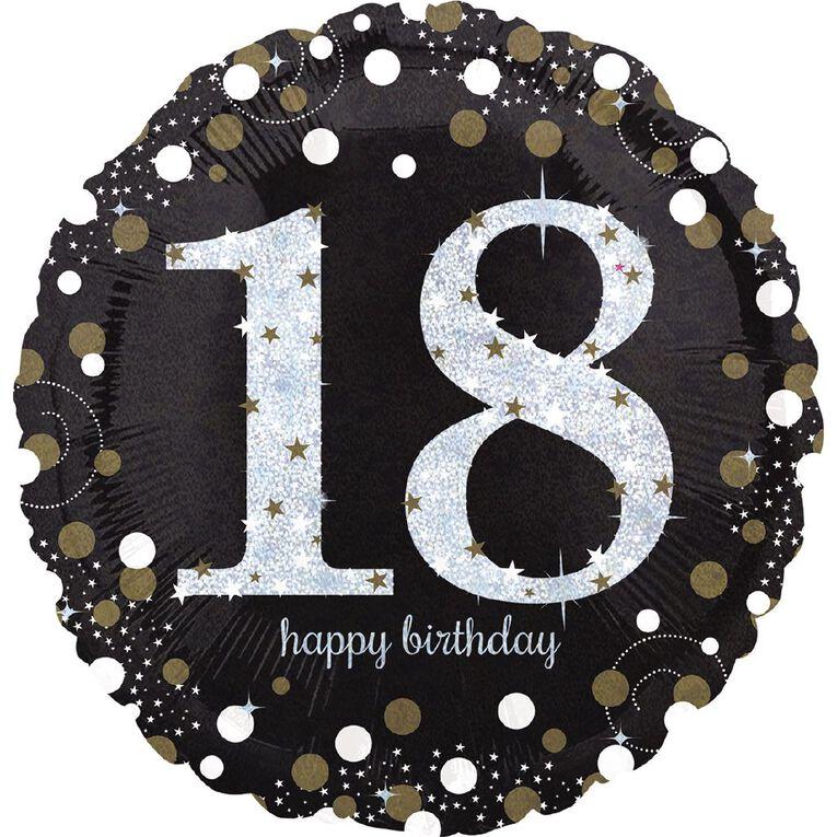 Anagram Holo Sparkling Birthday 18 Foil Balloon Standard 17in, , hi-res