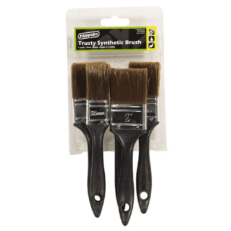 Haydn Synthetic Paint Brush 5 Piece Set, , hi-res