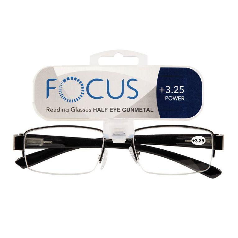 Focus Reading Glasses Half Eye Gunmetal 3.25, , hi-res