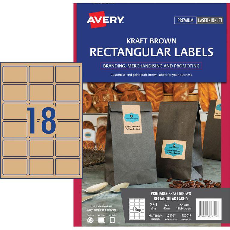Avery Rectangle Labels Kraft Brown 270 Labels, , hi-res