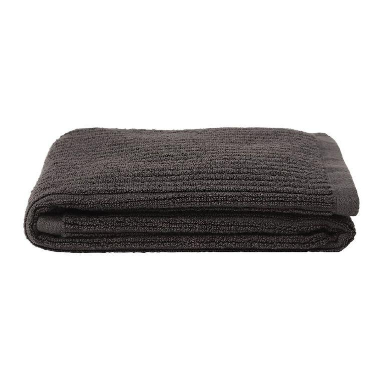 Living & Co Hand Towel Organic Ribbed Grey 40cm x 65cm, , hi-res