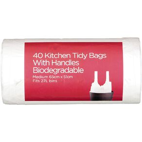 Necessities Brand Biodegradable Kitchen Tidy with Handles M 27L 40 Pack