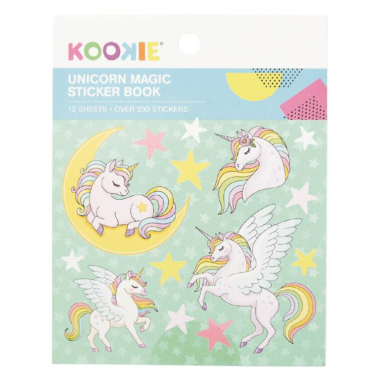 Kookie Mini Sticker Book 12 Sheets Unicorn Magic, , hi-res