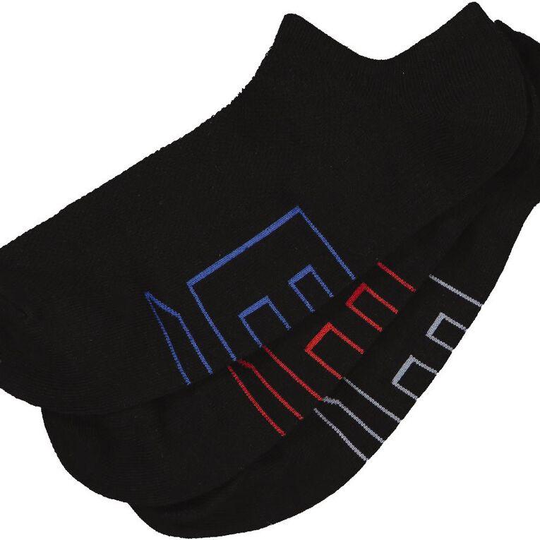 B FOR BONDS Men's No Show Socks 3 Pack, Black, hi-res