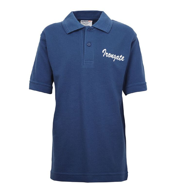 Schooltex Irongate Short Sleeve Polo with Screenprint, Royal, hi-res