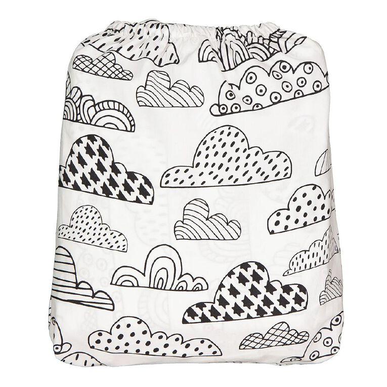 Living & Co Kids Sheet Set Cotton Rich Cloud White Single, White, hi-res