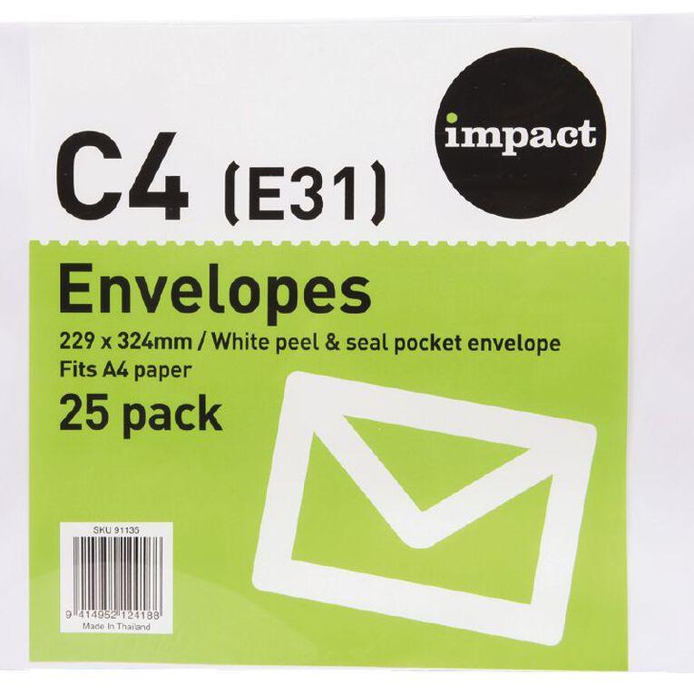 WS Envelope E31/C4 White Peel & Seal 25 Pack, , hi-res