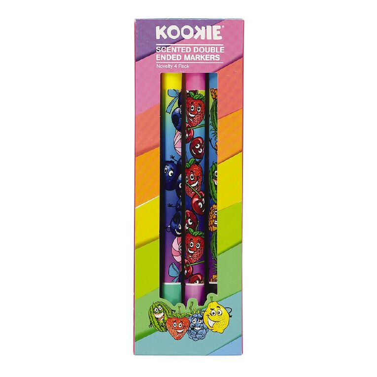 Kookie Novelty Double Ended Markers Scented 2 Pack Multi-Coloured, , hi-res