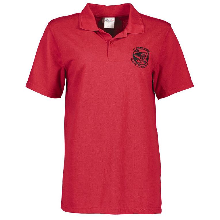 Schooltex Pt England Short Sleeve Polo with Embroidery, Red, hi-res