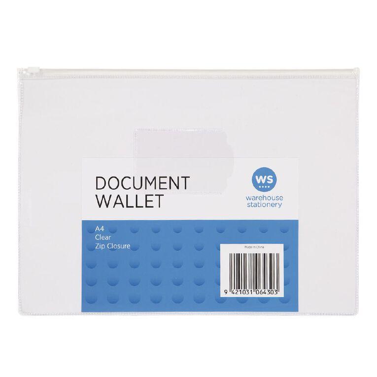 WS Clear Zipper Document Wallet A4, , hi-res