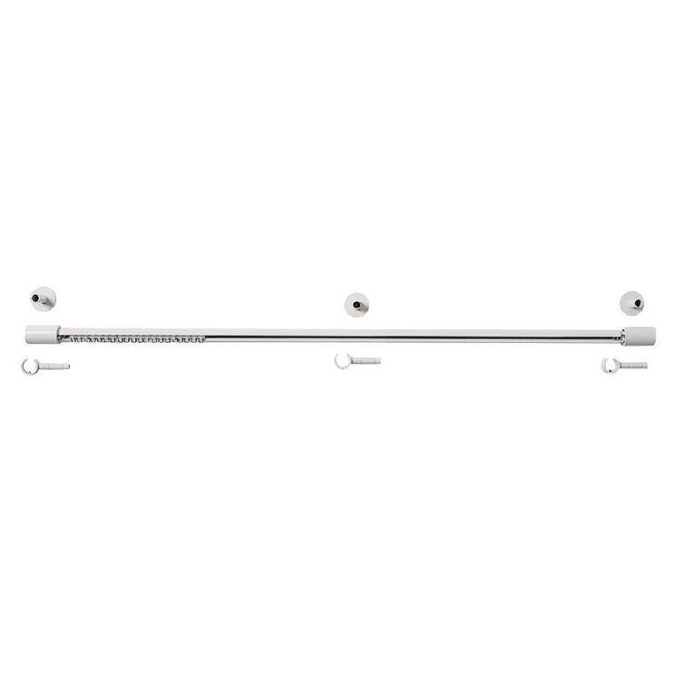 Living & Co Extendable Curtain Rail White 165-300cm, White, hi-res