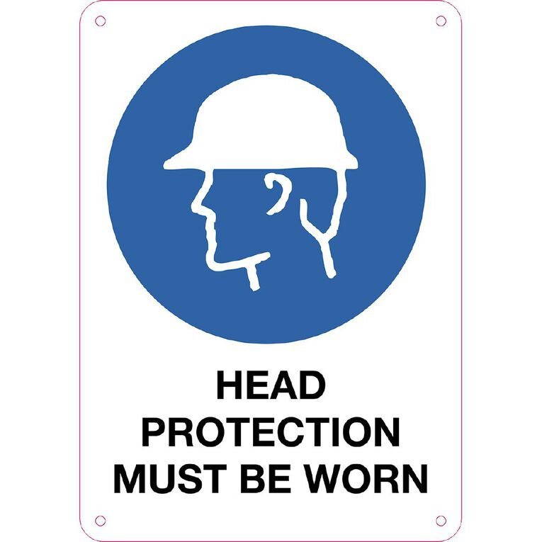 WS Head Protection Must be Worn Sign Small 340mm x 240mm, , hi-res
