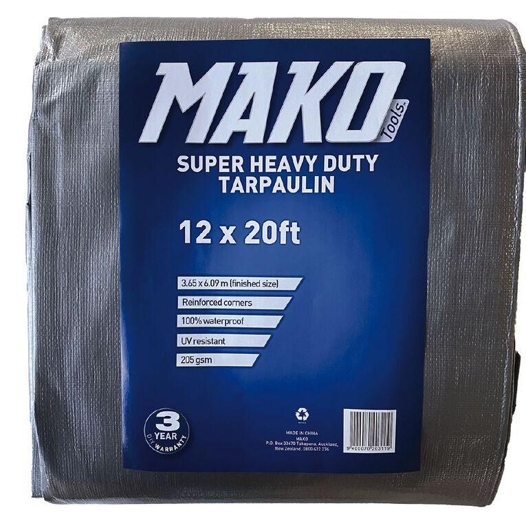 Mako Tarpaulin Silver/Black 205gsm 12ft x 20ft, , hi-res