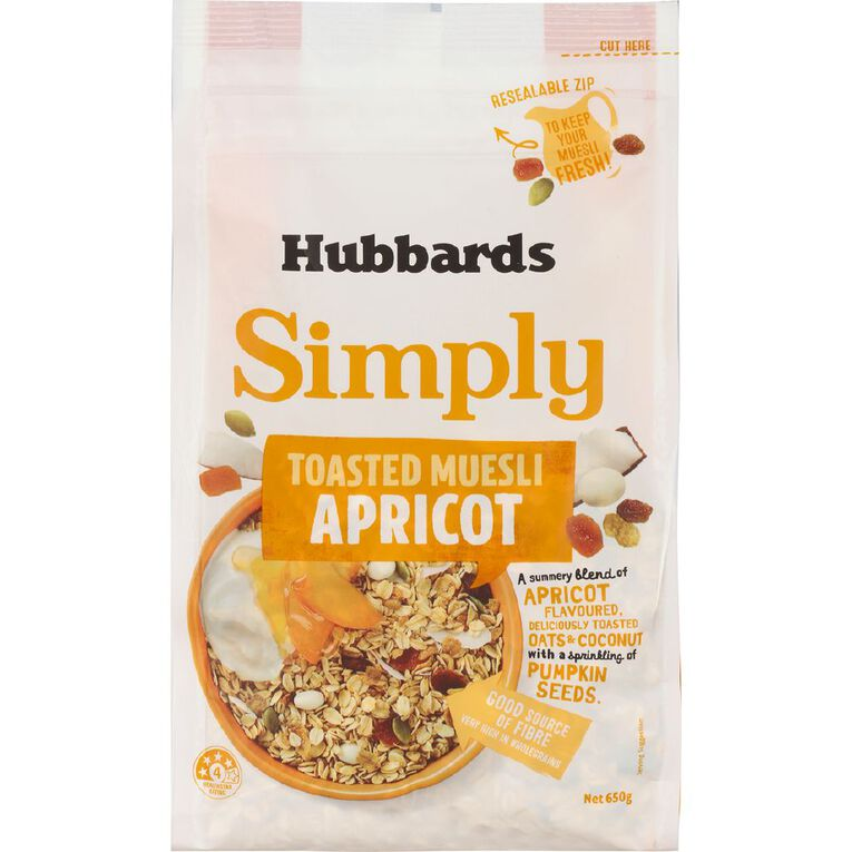Hubbards Simply Toasted Muesli Apricot 650g, , hi-res