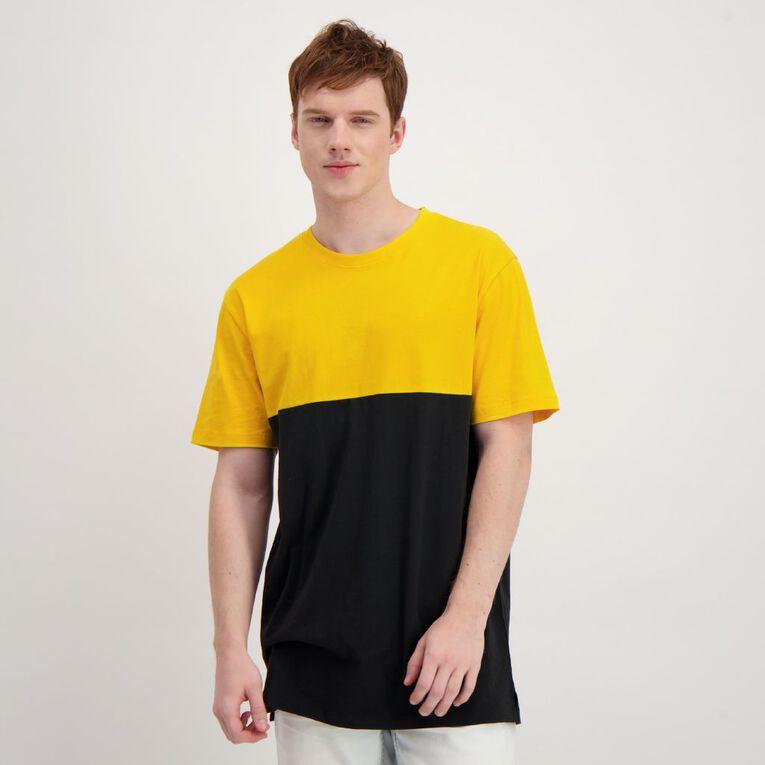 Garage Men's Short Sleeve Spliced Panel Tee, Black/Yellow, hi-res