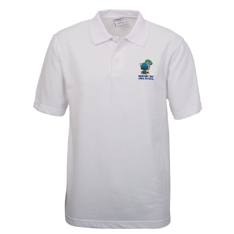 Schooltex Mercury Bay Area School Short Sleeve Polo with Embroidery, White, hi-res
