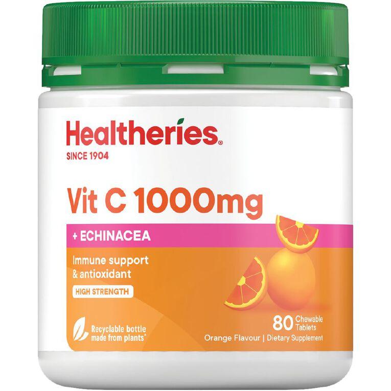 Healtheries Vitamin C + Echinacea 1000mg Chewable 80s, , hi-res