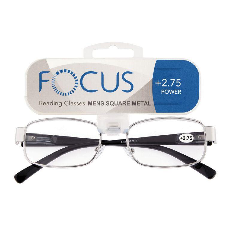 Focus Reading Glasses Men's Square Metal Power 2.75, , hi-res