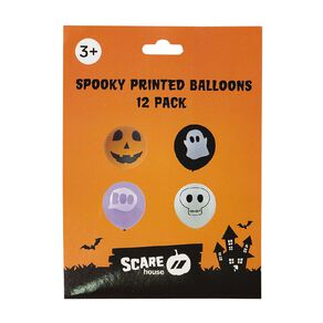 Scarehouse Spooky Printed Balloons 25cm 12 Pack