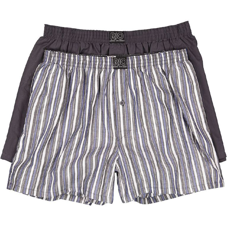 Rio Men's Woven Trunks 2 Pack, Blue/Grey, hi-res image number null