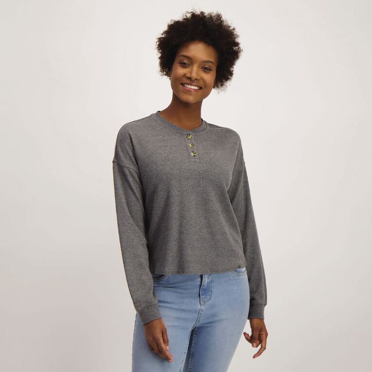 H&H Women's Loose Waffle Henley, Brown Mid, hi-res