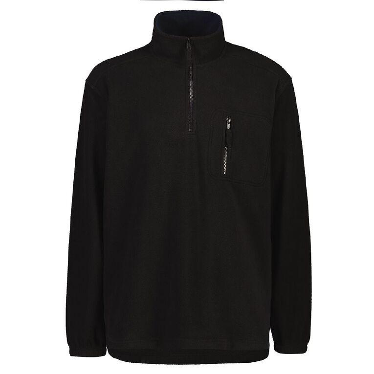 Rivet Men's 1/4 Zip Microfleece Sweatshirt, Black, hi-res