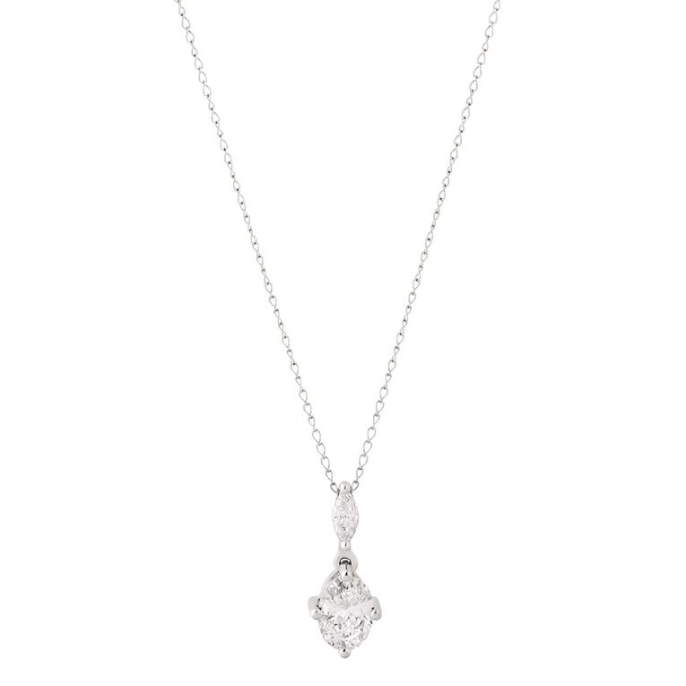 Brilliance Sterling Silver CZ 2 Stone Pear Drop Pendant, , hi-res