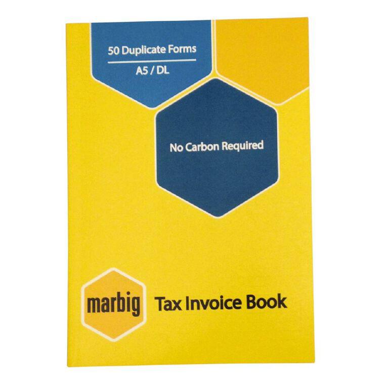 Marbig Invoice Book Duplicate 50 Leaf Yellow A5, , hi-res