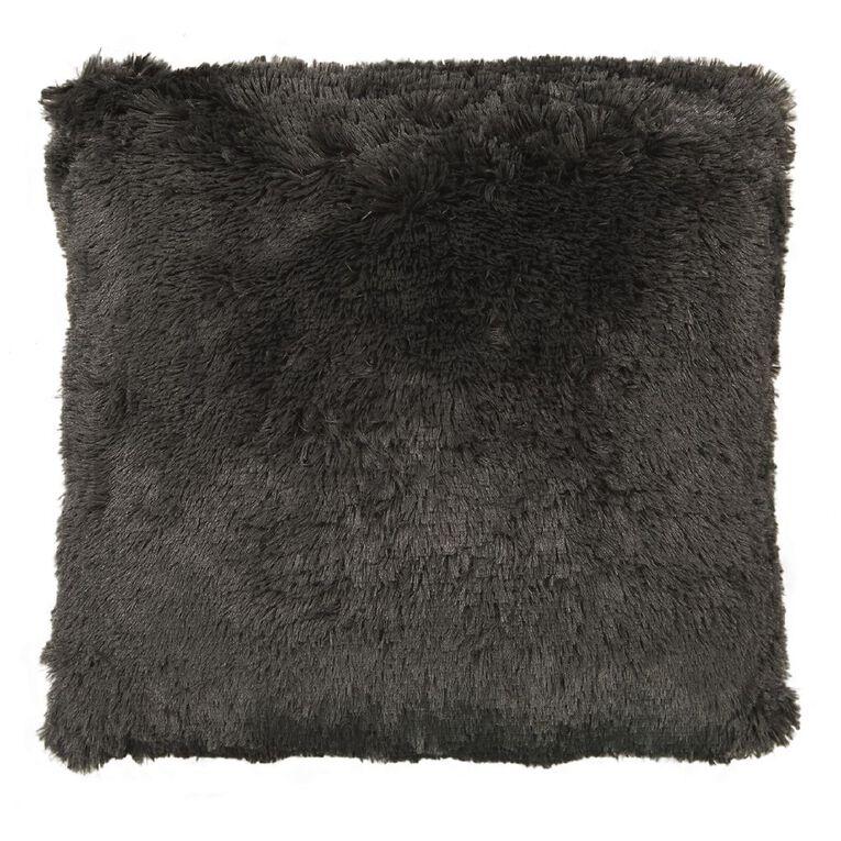 Living & Co Shaggy Floor Cushion Charcoal 60cm x 60cm, Charcoal, hi-res