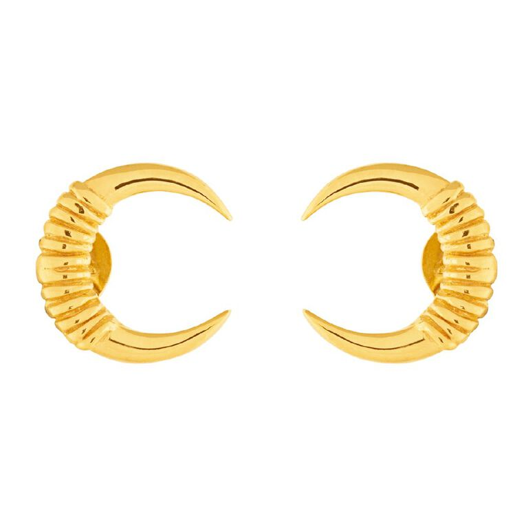Sterling Silver Gold Plated Cresent Stud Earrings, , hi-res